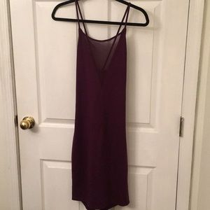 Plunge Neck Mesh Bodycon Dress